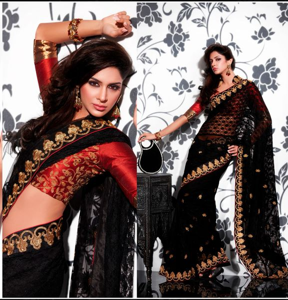 Black Tully Net Weaven Embroidered Saree SCA3612