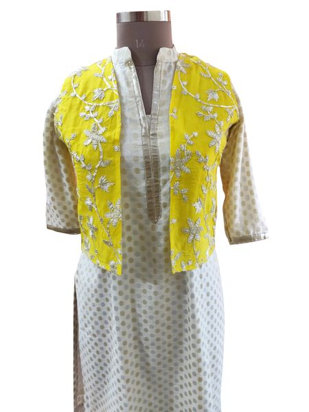 Yellow Gotta Embroidered Ethnic Jacket Shrug