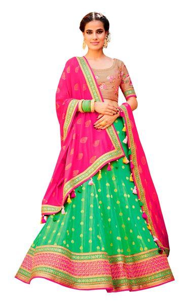 Pink Green Pure Silk Lehenga Choli Dupatta L504