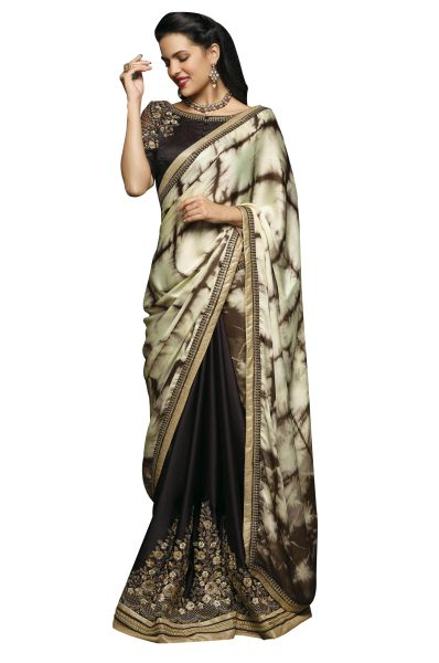 Designer Tie n dye Cream Brown Embroidered Saree with Emb Blouse Fabric SC411
