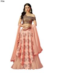 Designer Peach Silk Net Lehenga Skirt With Semi Stitched Blouse and Dupatta