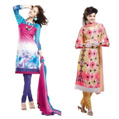 Designer Cotton Embroidered Dress Material Combo Set of Two