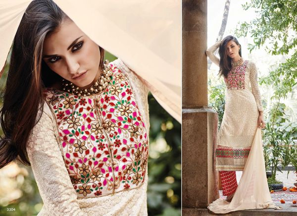 Designer Pakistani Replica Semi Stitched Georgette Dress Material Elan3304