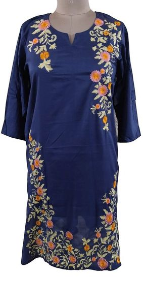 Designer Semi Stitched Blue Pakistani Embroidered Kurti Kurta Tunic PK01