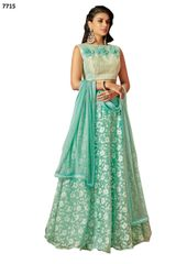 Designer Sea Green Tissue Lehenga Skirt With Semi Stitched Blouse and Dupatta