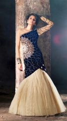 Heavy Wedding Velvet Blue Cream Georgette Lehenga Choli SC15006