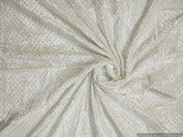 Designer Velvet Off White Silver Sequin Embroidered for Blouse Crop Top Cut 1.4 Meter ( 150 cms)