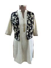 Black Gotta Embroidered Ethnic Jacket Shrug