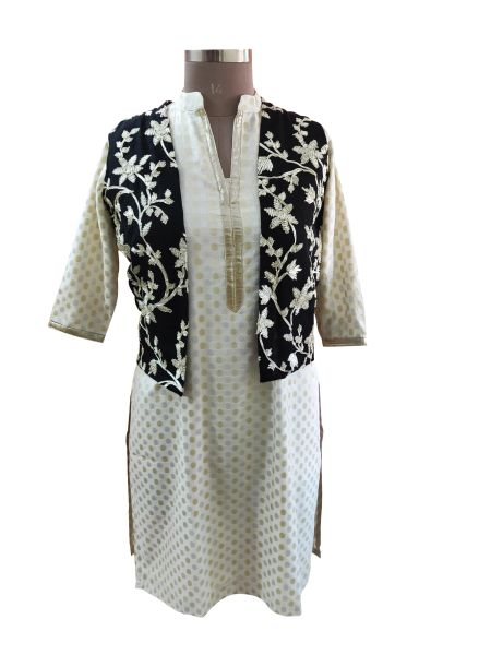 Black Gotta Embroidered Ethnic Jacket Shrug