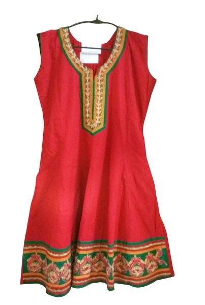 Red Cotton Anarkali Cotton Kurta