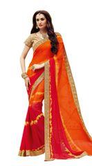 Designer Orange Bandhej Print Embellished Georgette Saree K3204