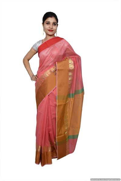 Pink Banarsi Cotton Silk Saree with Running Blouse Fabric BS25