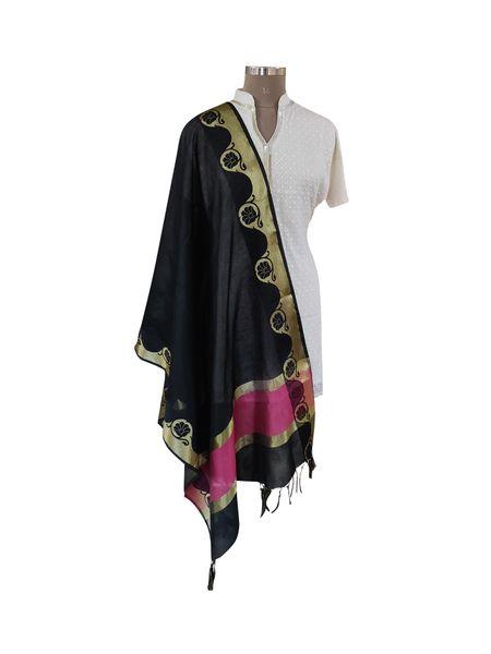 Benaras Cotton Silk Dupatta (Black_BCPD02)