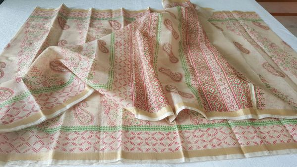 Designer Cream Gold Border Kota Cotton Printed Saree KCS71