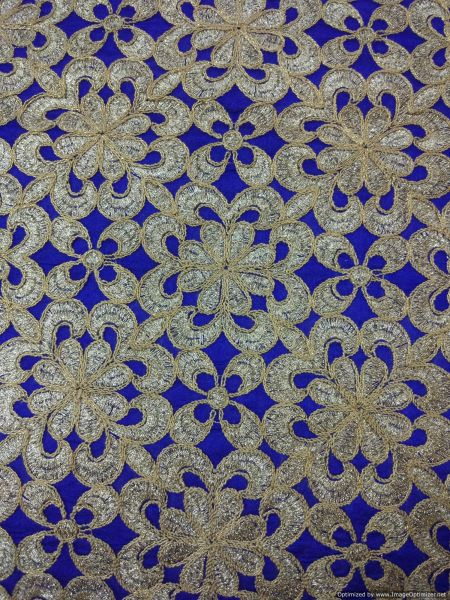 Designer Blue art Silk Machine Embroidered Fabric for Blouse Crop top Pre Cut 1.0 Meter (102 Cms)