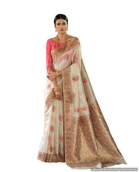 Soft Silk Handloom Weaven Saree (Off White_KS04)
