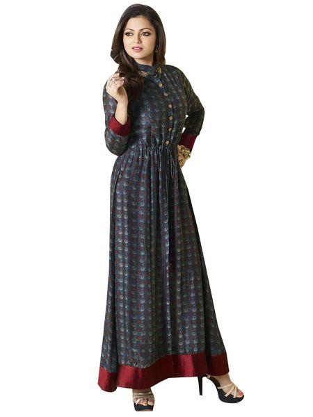 Designer Blue Chanderi Kurti Kurta Dress Size XL SCLT911