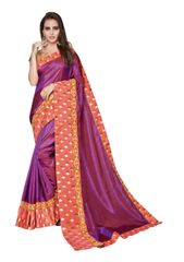 Designer Two Tone Purple Silk Border Saree with Blouse and Jacket
