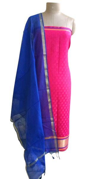 Designer Banarsi Pink Cotton Silk Weaven Shalwar Kameez Dress Material BSD10