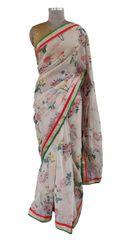 Organza Floral Printed Border Embellished Saree (Peach_SP22)
