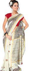 Designer Off white Printed Cotton Silk Saree SC4469B