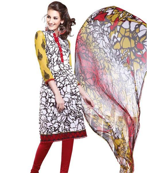 Cotton Red Salwar Kameez Churidar Fabric SC8143C