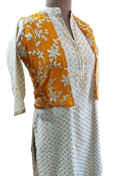 Orange Gotta Embroidered Ethnic Jacket Shrug