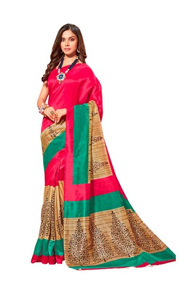 Designer Pink Bhagalpuri Cotton Silk Saree SC3032