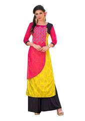 Designer Pink Yellow Rayon Cotton Kora Silk Layered Embroidered Long Kurta Dress Size XL SCKSD205
