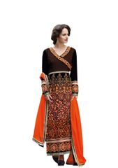 Designer Micro Velvet Brown Orange Salwar kameez Dress Material SC7273