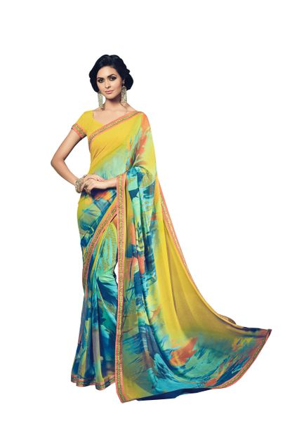 Turquoise Yellow Double Print Marble Georgette Saree with Lacer Border SC21210