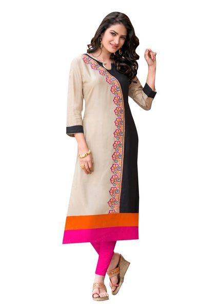 Designer Rayon Cotton Black Embroidered Long Kurta Kurti Size XL SCKS206