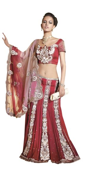 Net crepe georgette Red Embroidered Lehenga Saree Sari SC6102