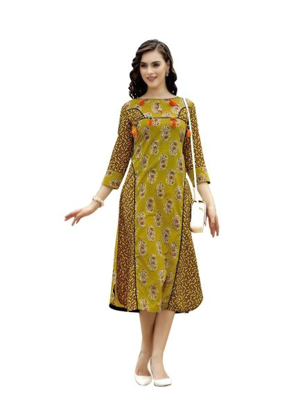 Designer Olive Green Cotton Printed Long Kurti Kurta Dress Style Size 42 XL SC1001