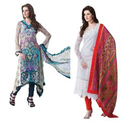 Designer Georgette Cotton Embroidered Dress Material Combo Set of Two
