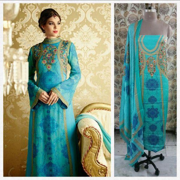 Designer Digital Printed Satin Kurta with Chiffon Dupatta Fabric Only Heer5711