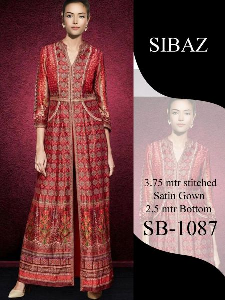 Designer Pakistani Replica Pure Satin Digital Printed Long Gown Size XL SB1087