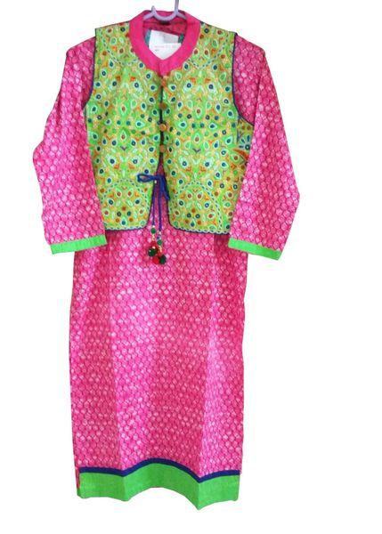 Pink Cotton Long Kurta With Jacket