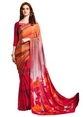 Designer Orange Faux Crepe Abstract Print Saree VAS7101A