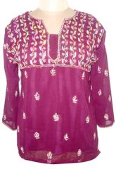 Purple Georgette with lining Chikankari Lucknowi Top