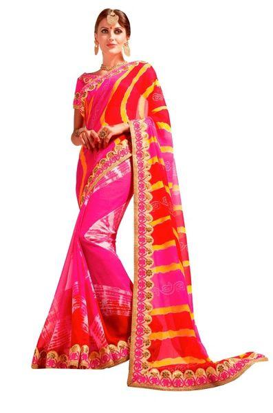 Designer Lehariya Jaipuri Style Embellished Georgette Saree S5265