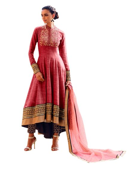 Designer Semi Stitched Reddish Fusion Style Khadi Dress Material