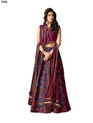 Designer Purple Silk Lehenga Skirt With Semi Stitched Blouse and Dupatta