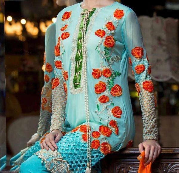 Designer Pakistani Replica Light Blue Georgette Dress Material Trouser Suit TM4004