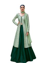Designer Semi Stitched Pista Green Fusion Style Bhagalpuri Dress Material