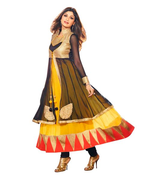 Shilpa Shetty Exclusive Yellow Anarkali SC6009
