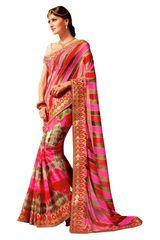 Designer Lehariya Jaipuri Style Embellished Georgette Saree S5261
