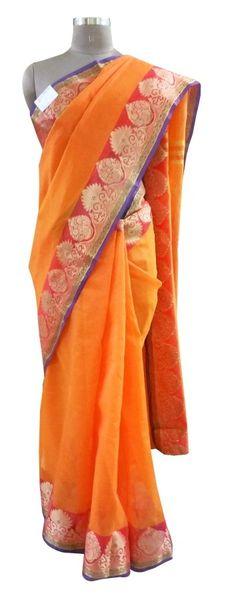 Orange Banarsi Silk Kota Weaven Border Saree