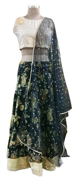 Black Floral Lehenga Choli with Brocade Cotton Crop top and Sequin Dupatta ALC01