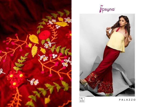 Designer Maroon Linen Cotton Embroidered Palazo Pants Free Size P705